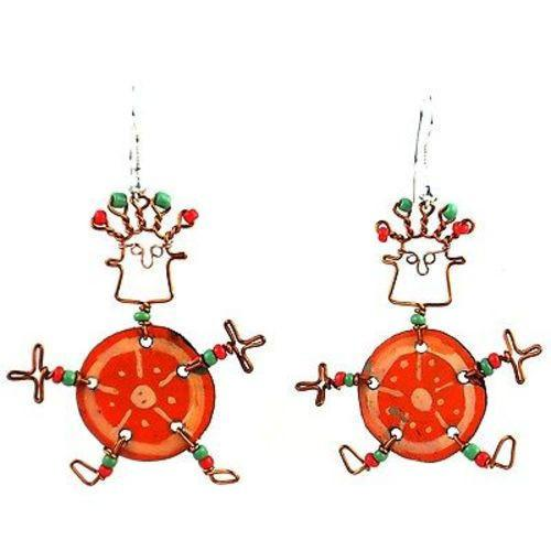 Dancing Girl Orange Slice Earrings Handmade and Fair Trade