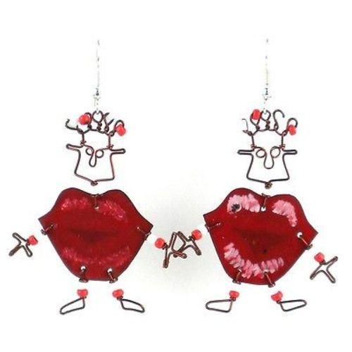 Dancing Girl Kiss Me Quick Earrings Handmade and Fair Trade
