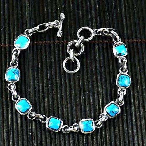 Handcrafted Mexican Alpaca Silver and Turquoise Cube Bracelet Handmade and Fair Trade