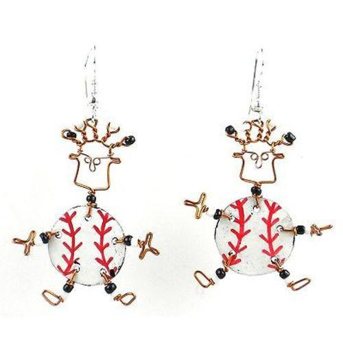 Dancing Girl Baseball Fanatic Earrings Handmade and Fair Trade