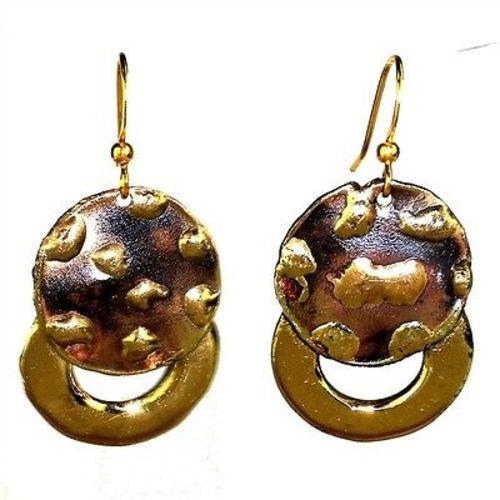 Make Your Mark Twice Brass Earrings Handmade and Fair Trade
