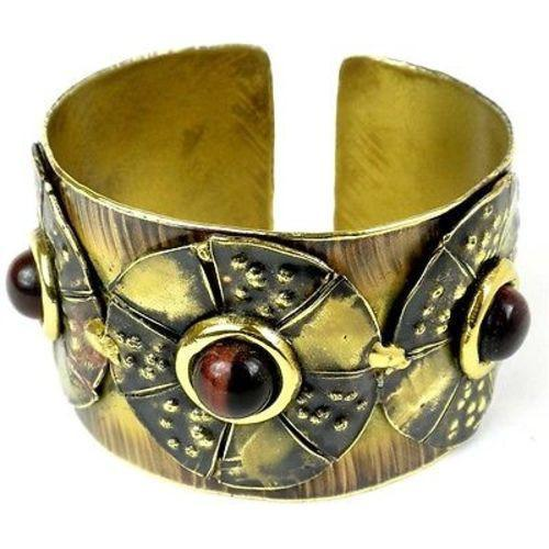 Roulette Red Tiger Eye Brass Cuff Handmade and Fair Trade