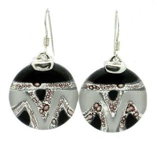 Aztec Black and White Round Glass Sterling Silver Earrings Handmade and Fair Trade