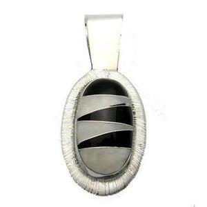 Onyx and Mother of Pearl Zig Zag Pendant Handmade and Fair Trade