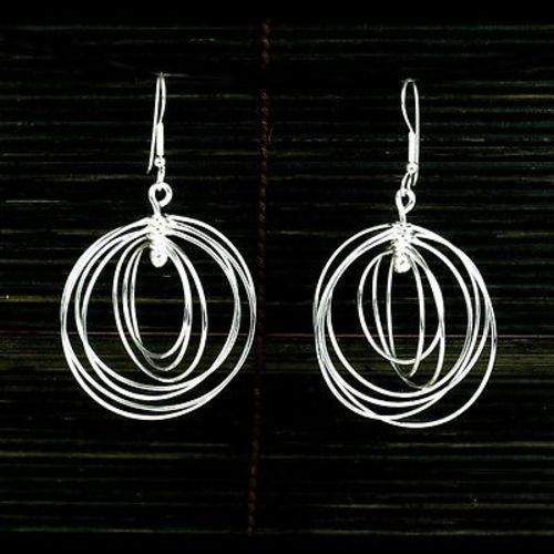 Large Silverplated Seven Circles Earrings Handmade and Fair Trade