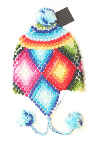 "Vibrant, ""Pom-Pom"" style Chullo Winter Hat, Size: Child (6-10 years)"