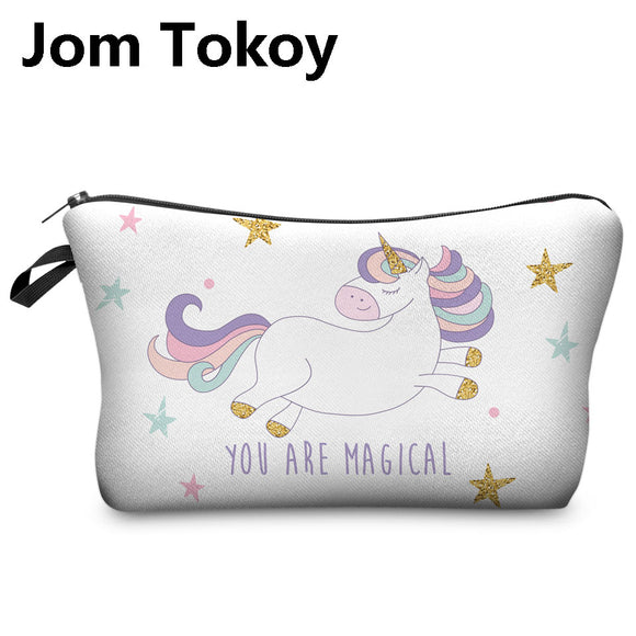 3D Printing Cosmetic Bag Unicorn Multicolor Pattern Cute cosmetic organizer bag For Travel Ladies Pouch Women Makeup Bags