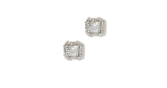 White Cubic Zirconia Square Stud Earrings