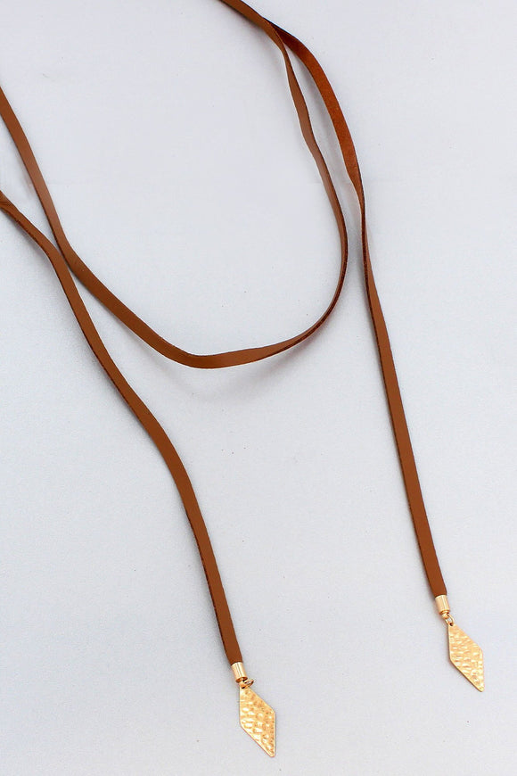 BROWN FAUX LEATHER WITH WORN GOLDTONE DIAMONDS WRAP NECKLACE