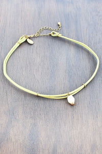 Pearl Charm Natural Double Cord Choker