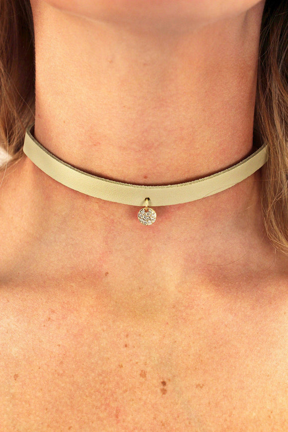 NATURAL FAUX LEATHER AND WORN GOLDTONE & CRYSTAL DISK CHARM CHOKER