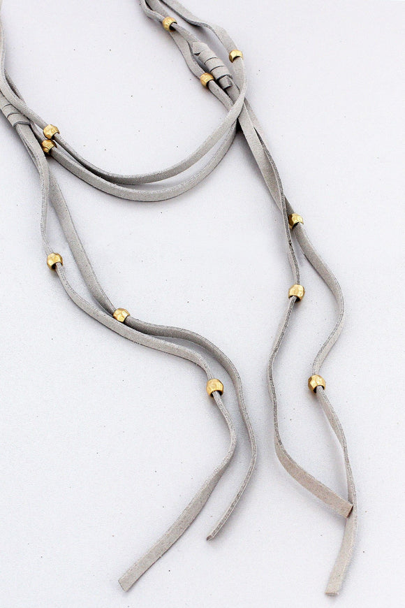 GOLDTONE BEAD ACCENTED GRAY FAUX LEATHER WRAP NECKLACE