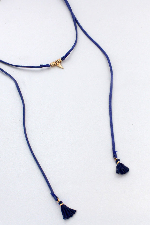 SPEAR NAVY FAUX LEATHER TASSEL WRAP NECKLACE