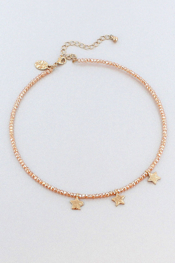 Star Charm Champagne Beaded Memory Wire Choker