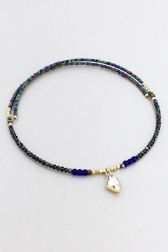 Black and Multi-Color Beaded Crystal Charm Memory Wire Choker
