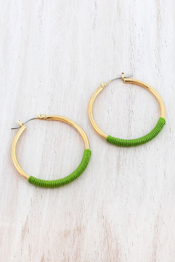GREEN FABRIC-WRAPPED WORN GOLDTONE HOOP EARRINGS