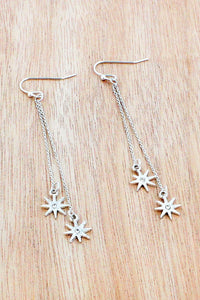DANGLING WORN SILVERTONE STAR EARRINGS