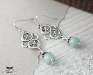 Handmade Amazonite Sea foam Mint and Silver Gemstone Earrings - Silver
