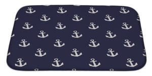 Bath Rug Mat No Slip Microfiber Memory Foam, Pattern With Anchors Nautical Navy Blue, 34x21