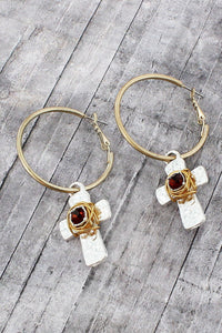 Goldtone with Smoky Quartz Crystal Wire-Wrapped Silvertone Cross Hoop Earrings
