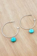 Worn Silvertone Textured Hoop with Turquoise Bead Earrings