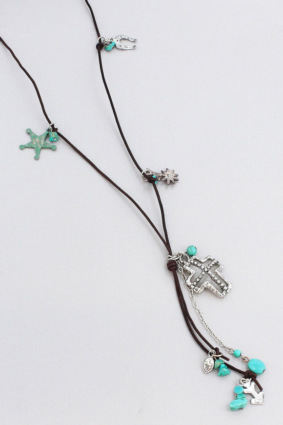 WESTERN CHARM TASSEL PENDANT ENDLESS CORD NECKLACE
