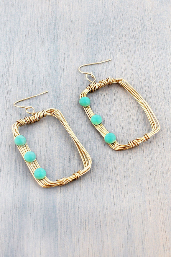 TURQUOISE TRIPLE BEAD ACCENTED GOLDTONE WIRE EARRINGS