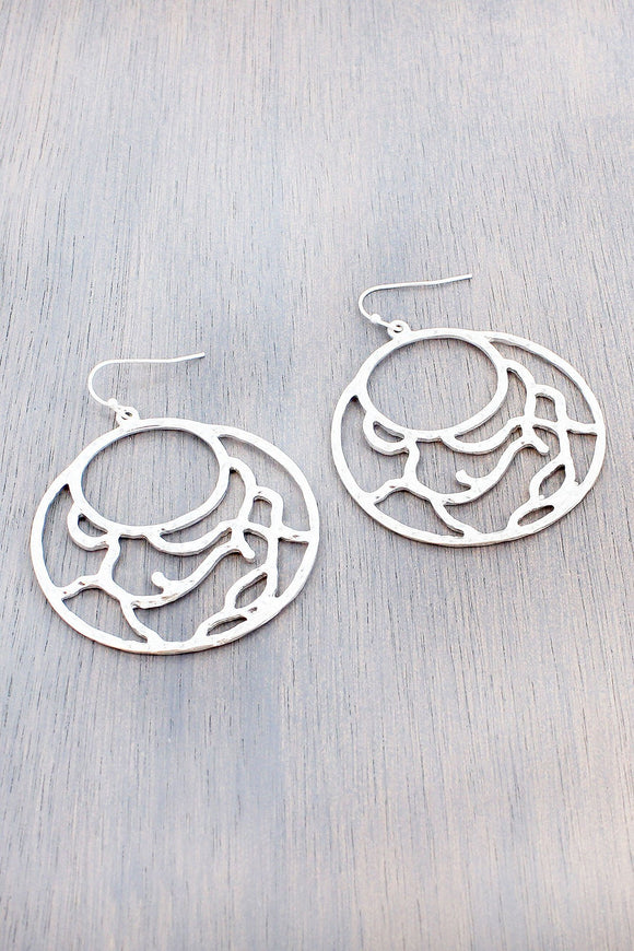 WORN SILVERTONE FILIGREE CIRCLE EARRINGS