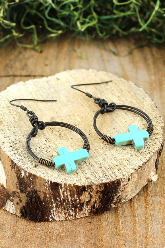 Dark Brass Hoop with Turquoise Sideways Cross Earrings