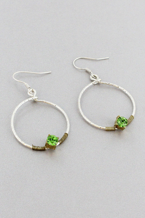 WIRE WRAPPED SILVERTONE HOOP EARRINGS WITH MINT CRYSTALS