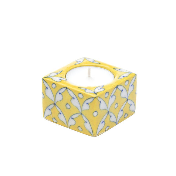 Blue Pottery Tea Light Holder - Yellow - Matr Boomie (Candle)