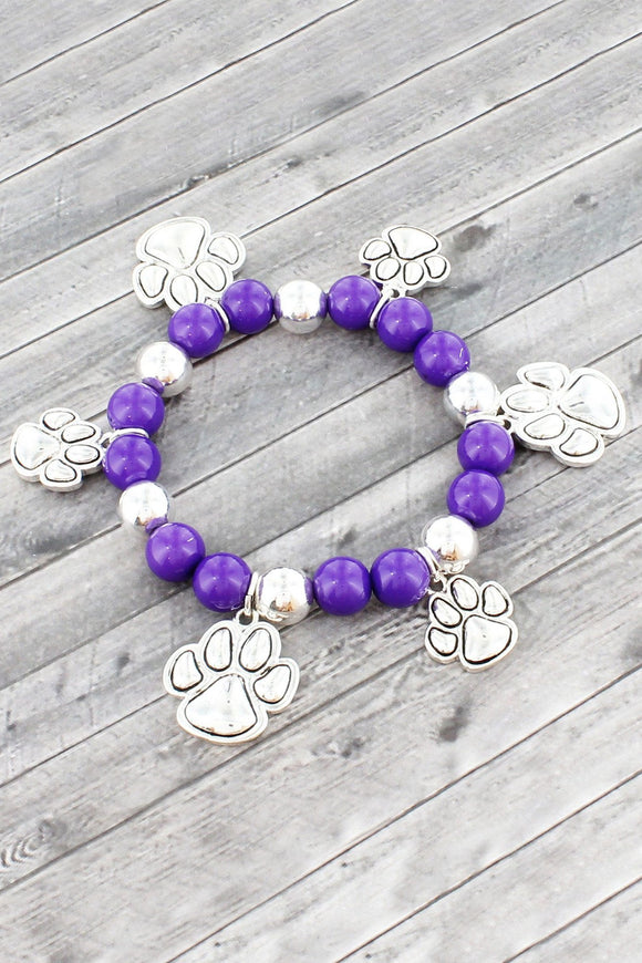 Purple and Silvertone Paw Print Beaded Stretch Bracelet