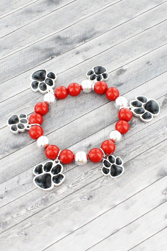 Red and Silvertone Paw Print Beaded Stretch Bracelet