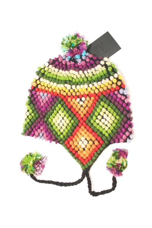 Vibrant, Pom-Pom style Chullo Winter Hat, Size: Child (3-6 years)