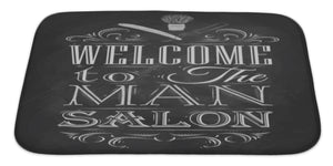 "Poster Barbershop Welcome To The Man Sal Bath Mat, Microfiber, Foam With Non Skid Backing, 34""x21"", GN10909"