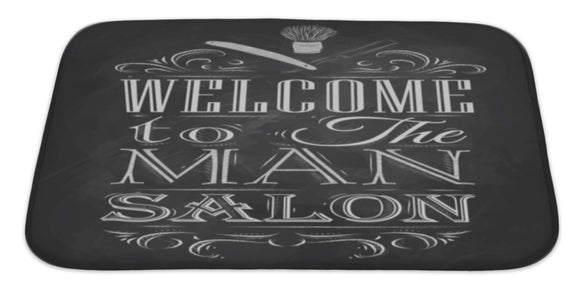 Poster Barbershop Welcome To The Man Sal Bath Mat, Microfiber, Foam With Non Skid Backing, 34