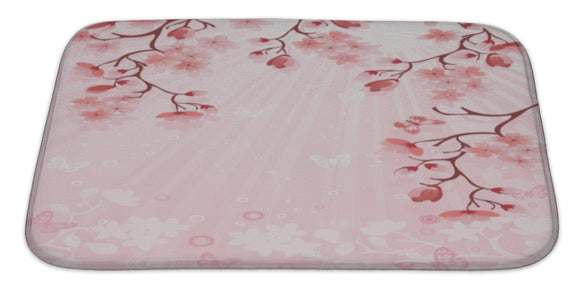 Japanese Cherry Blossom Bath Mat, Microfiber, Foam With Non Skid Backing, 34