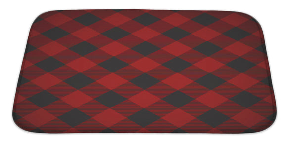 Lumberjack Plaid Pattern Tilted Bath Mat, Microfiber, Foam With Non Skid Backing, 34