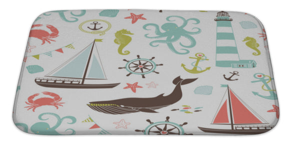 Retro Nautical Pattern Bath Mat, Microfiber, Foam With Non Skid Backing, 34