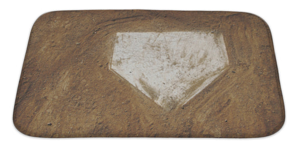 Home Plate Baseball Bath Mat, Microfiber, Foam With Non Skid Backing, 34