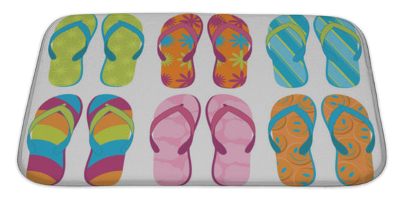 Flip Flops Bath Mat, Microfiber, Foam With Non Skid Backing, 34