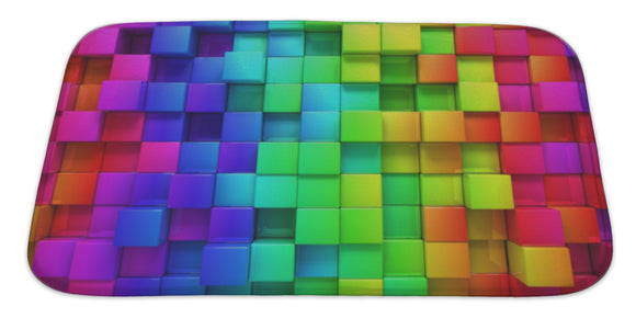 Rainbow Of Colorful Boxes Bath Mat Rug, Microfiber Memory Foam with no skid back, 34