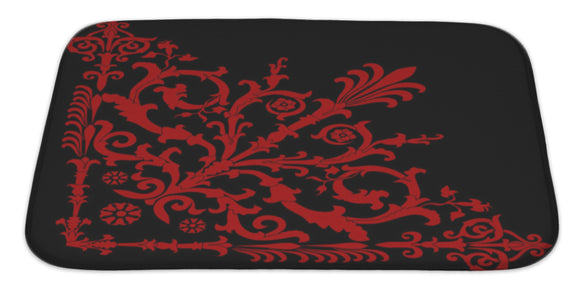 Red On Black Corner Bath Mat Rug, Microfiber Memory Foam with no skid back, 34