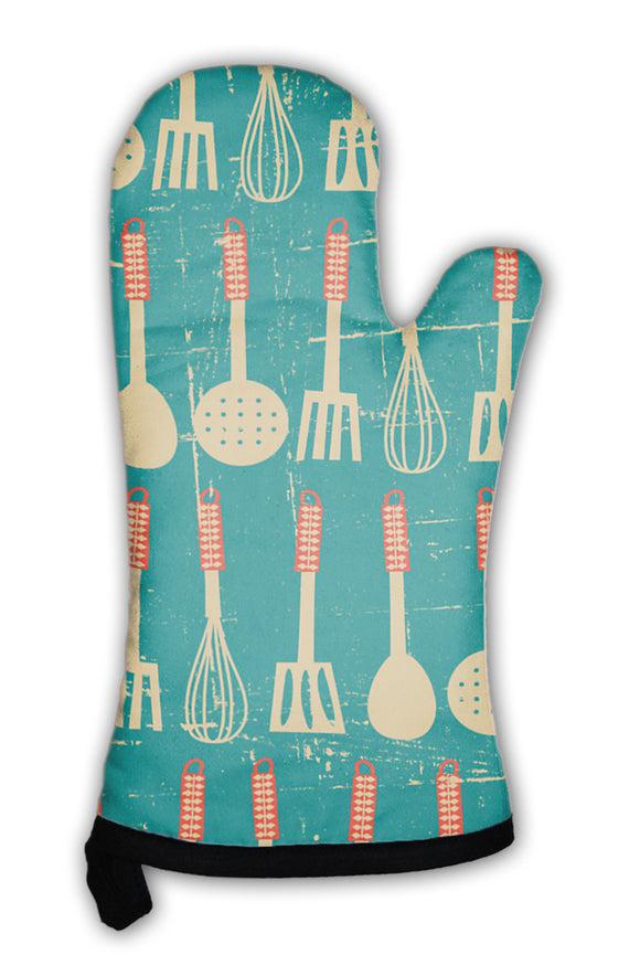 Oven Mitt, Retro Kitchen Pattern