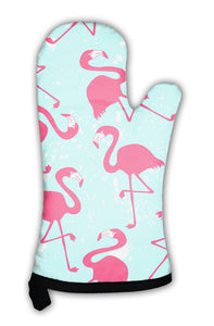 Oven Mitt, Pattern With Pink Flamingos