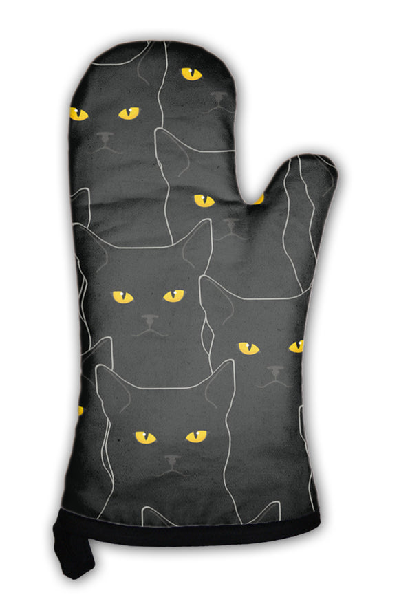 Oven Mitt, Black Cats Pattern