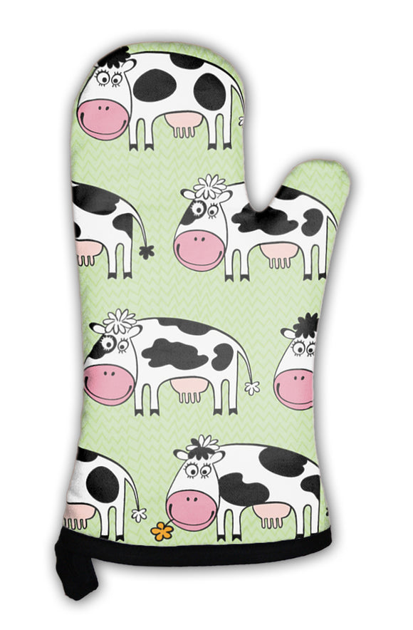 Oven Mitt, Cartoon Cows