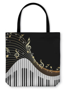 Tote Bag, Music Notes Piano
