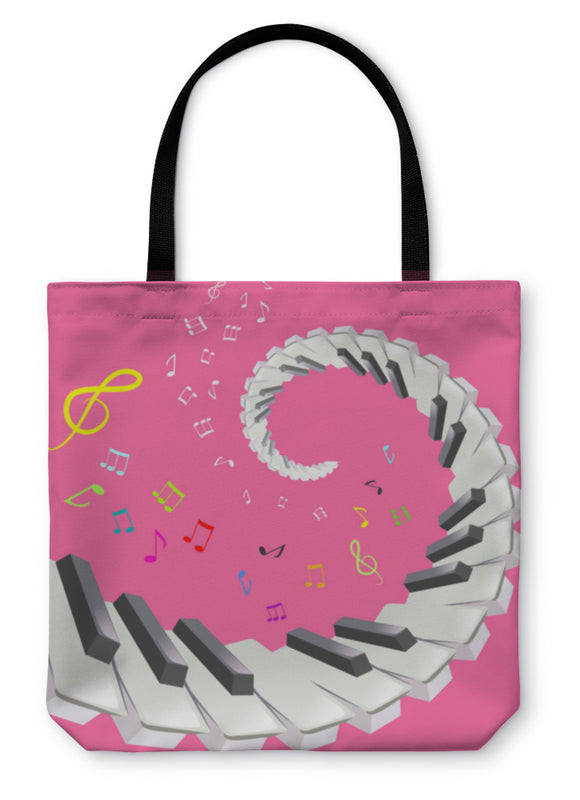 Tote Bag, Piano Keys And Notes