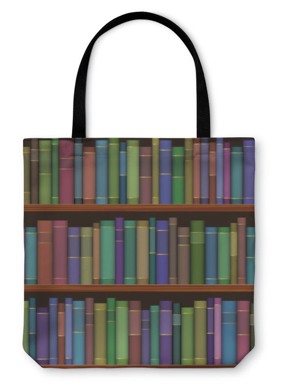 Tote Bag, Library Shelves With Old Books